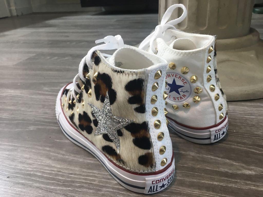converse all con star chuck taylor personalizzate con all borchie glitter  pelle leopard 4387ef