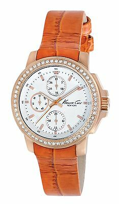 Kenneth Cole New York KC2803 New Multifunction Watch Orange Croco-Embossed Strap