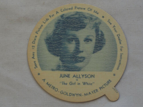 1952 DIXIE CUP NELSON'S Ice Cream JUNE ALLYSON TV Movie Star NM