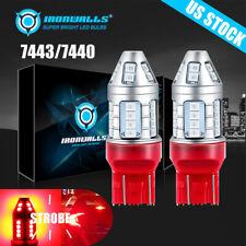 2pcs 7443 7444 Red Led Bulb Brake Tail Stop Parking Light 7440 T20 Bright Lamp Fits 2004 Honda Civic