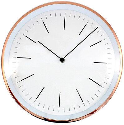 Gerade Wanduhr Kupfern Mit Weißem Ziffernblatt Wand Uhr 30cm Durchmesser Inkl. Batterie Moderater Preis