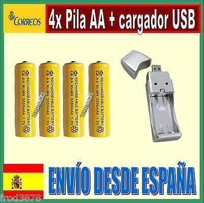 Cargador Pilas AA AAA USB/con 4 Compartimentos de Carga para/Bater/ía 4 Ranuras Pantalla LCD Carga en Coche Cargador AAA AA USB Cargador r/ápido Cargador USB CELLONIC/® Cargador de Pilas USB
