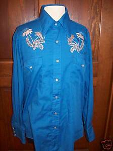 Champion-Westerns-vintage-shirt-Cowboy-embroidery-M-L-Vintage-Free-USA-ship