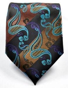 Cravate-Noir-Marron-Bleu-Sarcelle-soie-verte-rayures-et-Motif-Floral-Motif-Cachemire