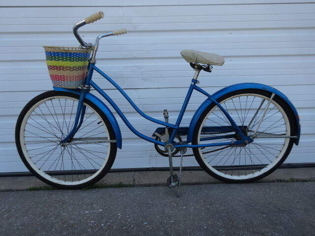 Vintage 1960s Old Montgomery Ward Hawthorne bluee Women Bicycle Road  Cruiser Bike  lowest prices