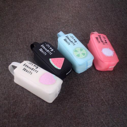 Cartoon Cute Fruit Pencil case Stationery Bags Silicone Pen Box School Supplies