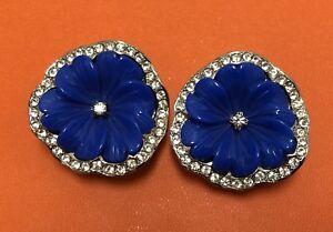 Details About Kenneth Jay Lane Kjl Blue Flower Earrings