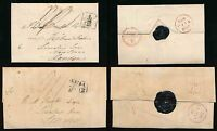SCOTLAND 1827 + 1828 WRAPPERS ADD.1/2 TWO TYPES on EACH COVER + TWO SEALS