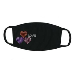 """Face Mask Rhinestone """" 3 Hearts with Love """", Cotton Blend, Made In USA"""