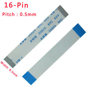 Pitch 0.5mm FFC/FPC Flexible Flat Cable 80C 60V VW-1 L: 50/300mm-3000mm 16-Pin