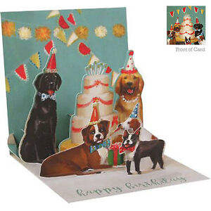Details about 3D Pop Up Greeting Card from Up With Paper - DOGS & CAKE -  UP-WP-1230