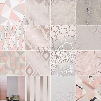 Rose Gold Pink Tapete Geometric Metallic Marmor Rankhilfe Streifen Mehr Ebay