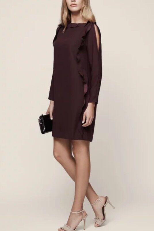 A46  Reiss NETTUNO Ruffle manica Shift Dress OX Blood Taglia RRP