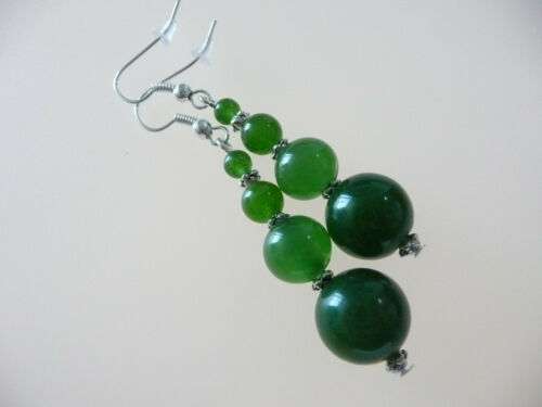 Vintage Art Deco Style Chinese Green Jade Long Earrings Prom Boho Party