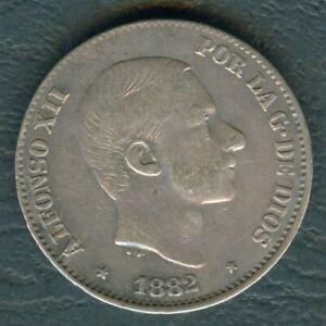 1882-Spanish-Philippines-50-Centimos-ALFONSO-XII-Rey-De-Espana-SILVER-Coin-AA2