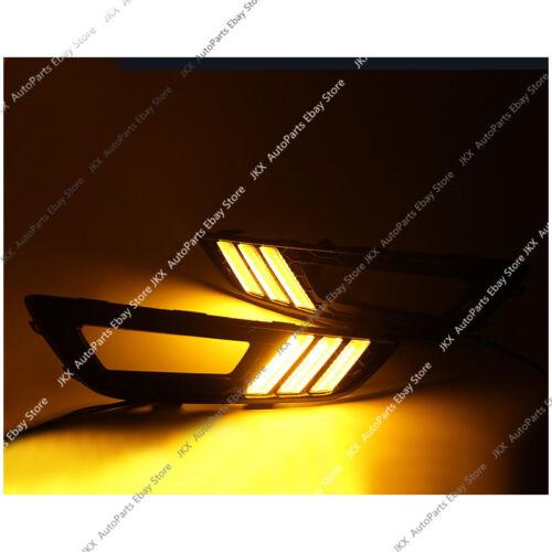 FOR FORD FOCUS 2015-2018 CLEAR LENS BUMPER FOG LIGHTS K BLACK LED DRL BEZEL KIT