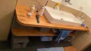 Waschtischplatte Waschtisch Eiche Massiv Eichenplatte Baumkante alle Größen