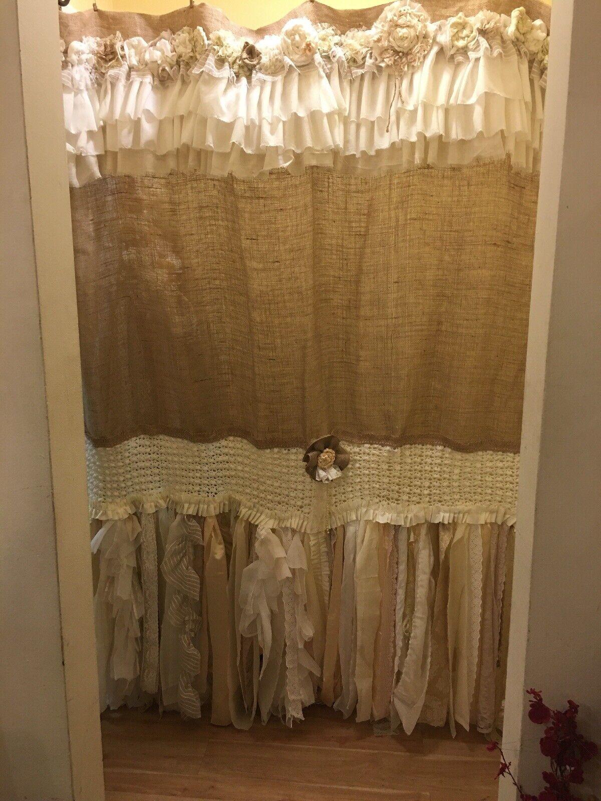 Bathroom Supplies Accessories Custom French Shabby Rustic Chic Burlap Shower Curtain Valance Lace Ruffle White Amusic Es
