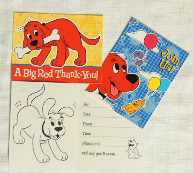 CLIFFORD THE BIG RED DOG8 PAPER INVITATIONS 8 THANKS BIRTHDAY
