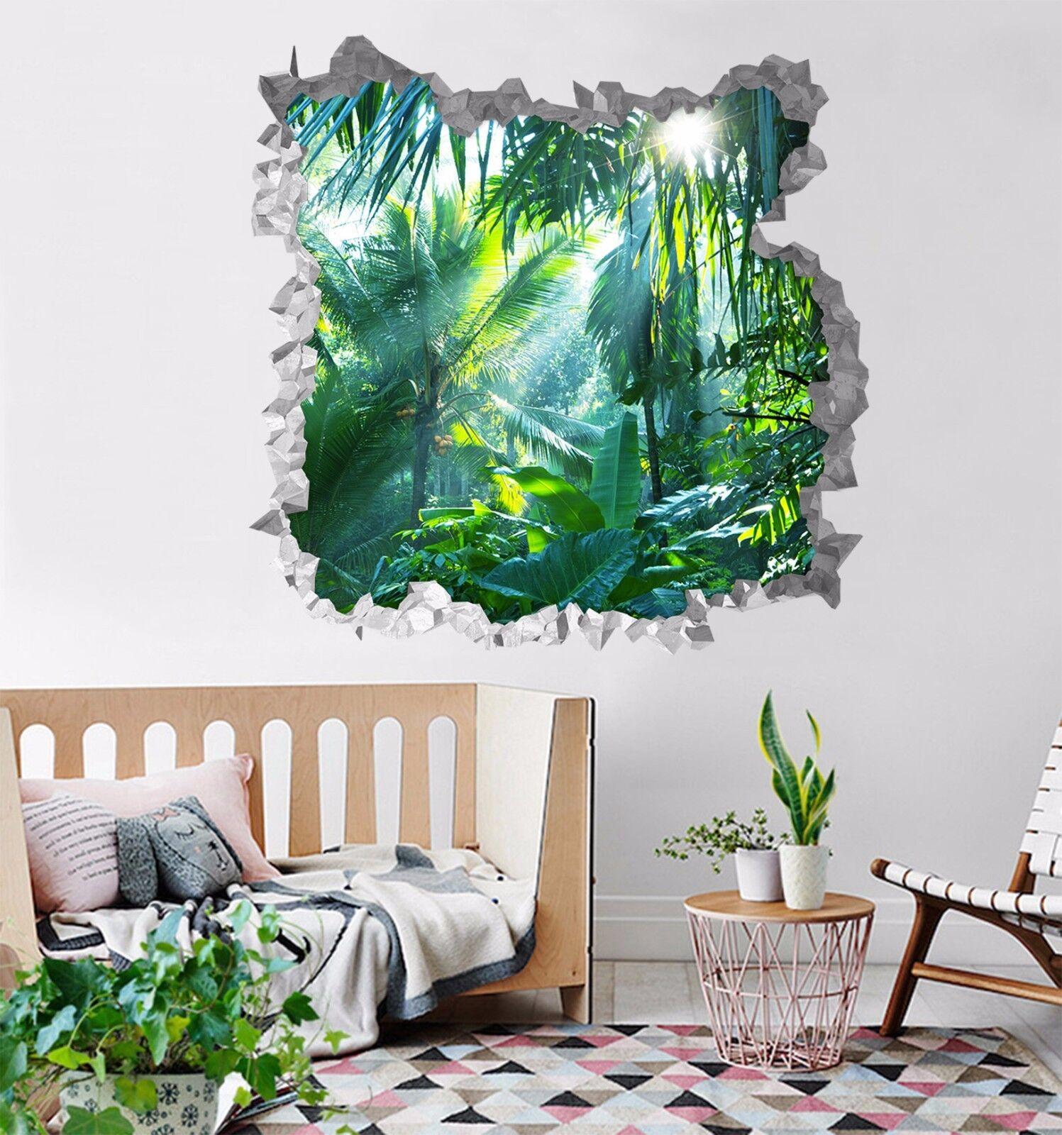 3D Foresta Pluviale Tropicale Parete Murales Parete Adesivi Decal Sfondamento IT
