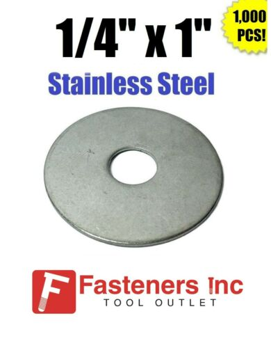 """1//4/"""" x 1/"""" OD Stainless Steel Fender Washers Type 304 Qty 1000"""