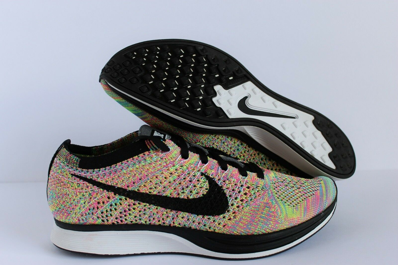 NIKE Hombres FLYKNIT RACER Multi-Color Negro    Mujeres [526628-004]