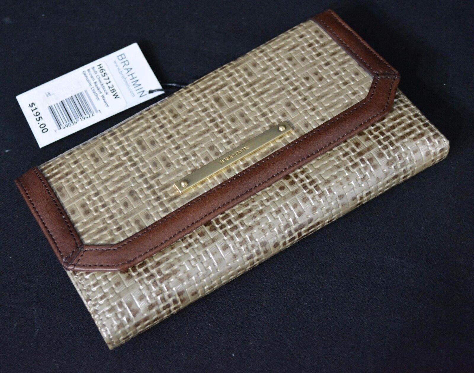 NWT Brahmin Soft Checkbook Tri-fold Wallet in Brown Basket Weave. Beige & Brown