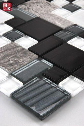 Glasmosaik Marmor Mosaik Mosaikfliesen Mosaike Fliesen 15x15cm Weiß Schwarz Grau