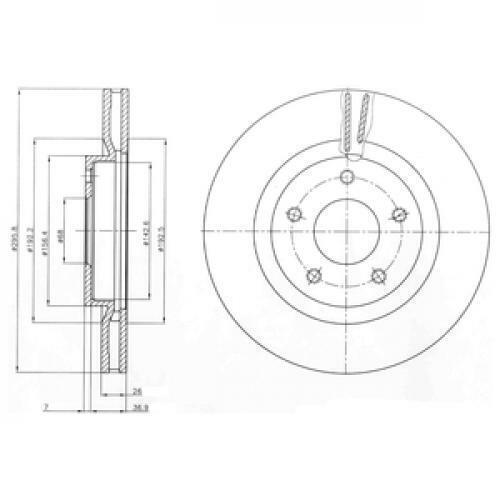 2x Delphi Bremsscheibe BG4109C für NISSAN