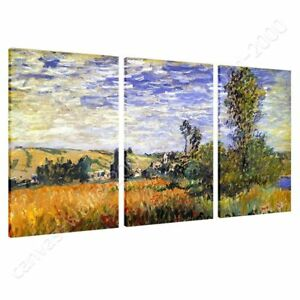 Landscape-At-Vetheuil-by-Claude-Monet-Ready-to-hang-canvas-3-Panels-Wall-art