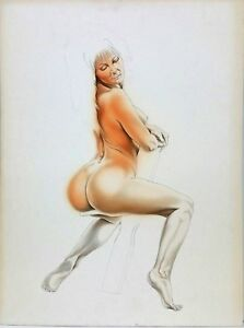 Vintage-Drawing-on-Board-Nude-Erotica-Woman-Female-Potrait-Painting