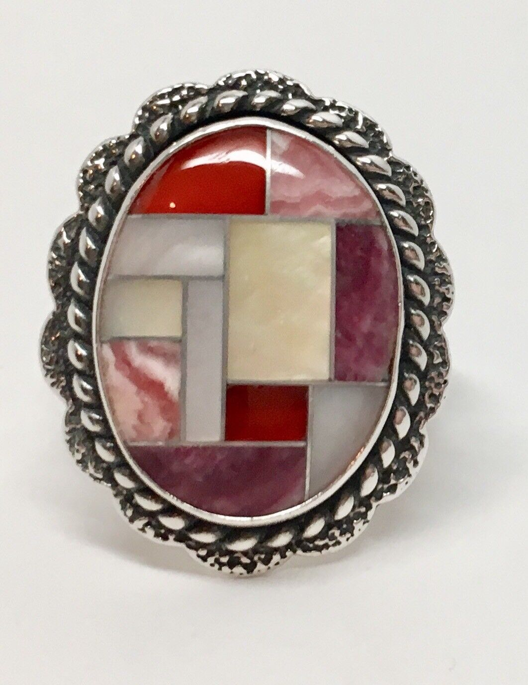 """Gorgeous Multi Stone Sterling Ring With """"R"""" Marking; Size 7"""