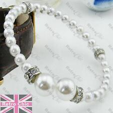 WHITE PEARL&CRYSTAL torque BANGLE bridal BRACELET elegant RHINESTONE silver tone