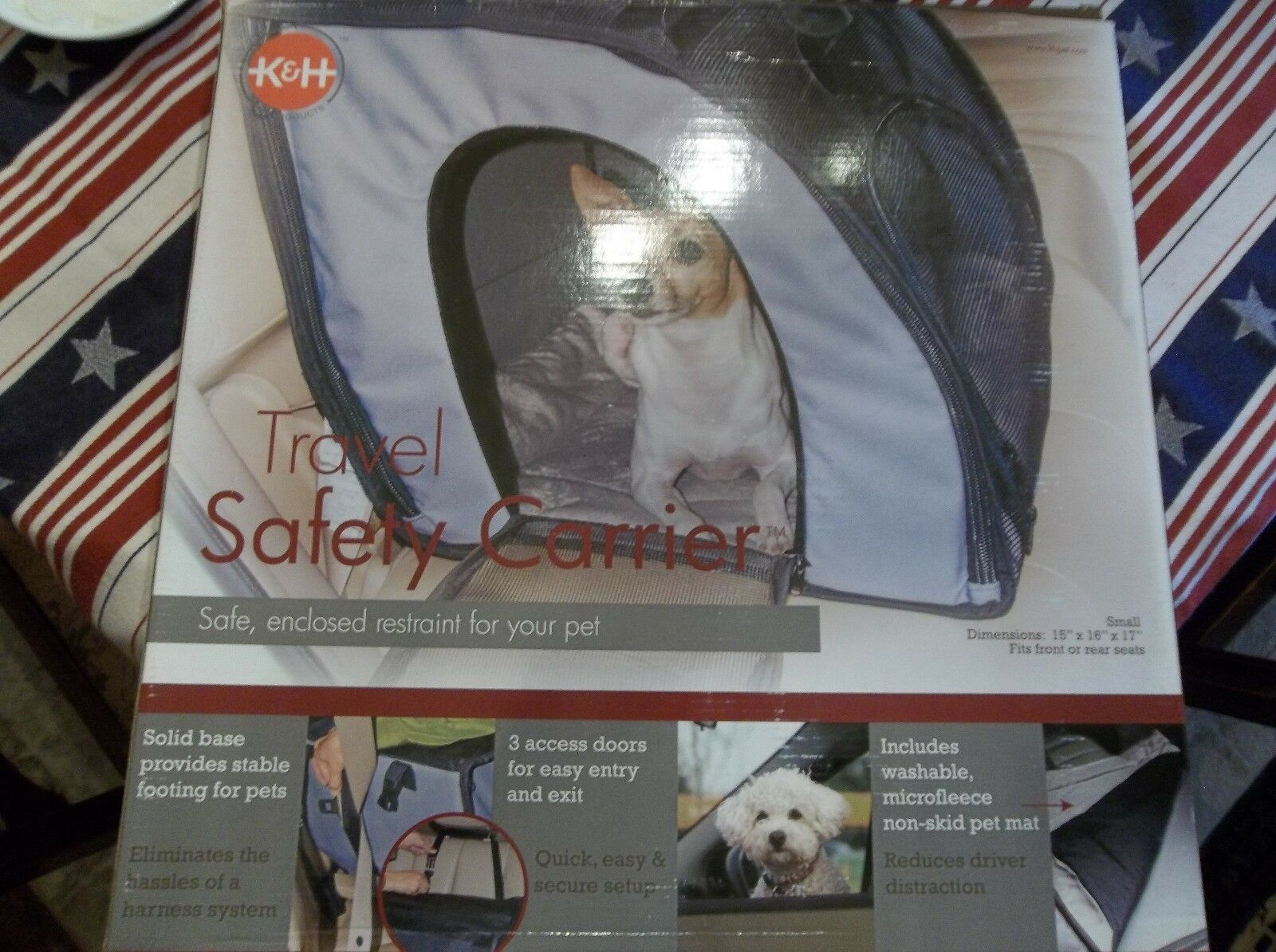 K & H Safe, Enclosed Restraint Pet Travel Safety Carrier for Small Pets NIB!