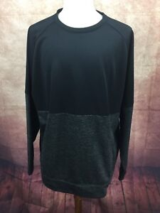 Reebok-Speedwick-Long-Sleeve-Pullover-w-Pockets-Shirt-Black-Charcoal-Men-039-s-XXL