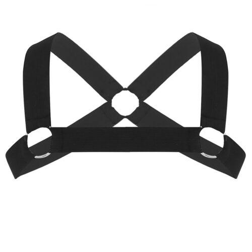 Black//White Mens Elastic Shoulder Chest Harness Belt Punk Costume Strap Clothing