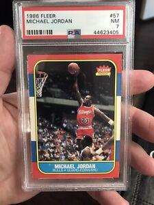 1986 Fleer Basketball Michael Jordan Bulls ROOKIE RC #57 PSA 7 NM!