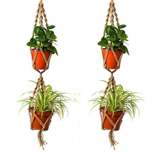 110 Cm Double Couche Chanvre Jute Corde Plante Flower Pot Hanger Titulaire Macrame Suspension-afficher Le Titre D'origine