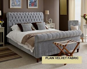5ft Grey Velvet Bed Frame King Size Plain Velvet