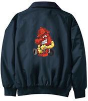 Fireman Firefighter Embroidered Jacket - Jacket Back - Sizes Xs Thru Xl