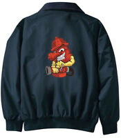 Fireman Firefighter Embroidered Jacket - Jacket Back - Sizes Xs Thru Xl