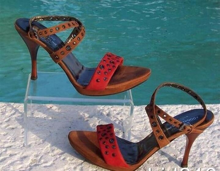 Donald Pliner Couture Suede Leather Sandal shoes New 9 9.5  Grommets Strappy  255