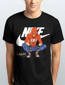 Spiderman-seduta-posa-T-Shirt-adulti-bambini-S-3XL