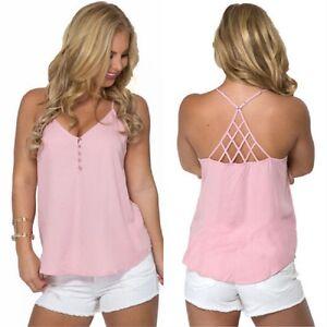 Women Summer Vest Top Sleeveless Shirt Blouse Casual Tank Tops T-Shirt US