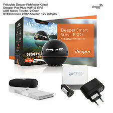 Deeper Pro Plus GPS Wifi Fishfinder 230V & 12V Lader f Apple Android Fischfinder