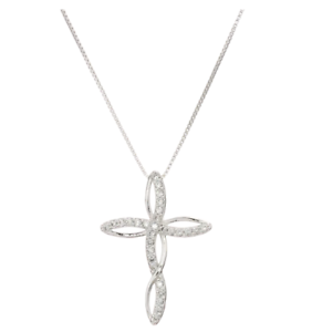Women-039-s-925-Sterling-Silver-CZ-Crystal-Infinity-Cross-Pendant-18-034-Chain-Necklace
