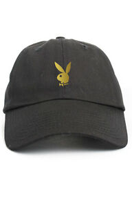 72fdf571f22 Image is loading Playboy-Bunny-Custom-Black-Unstructured-Baseball-Dad-Hat-