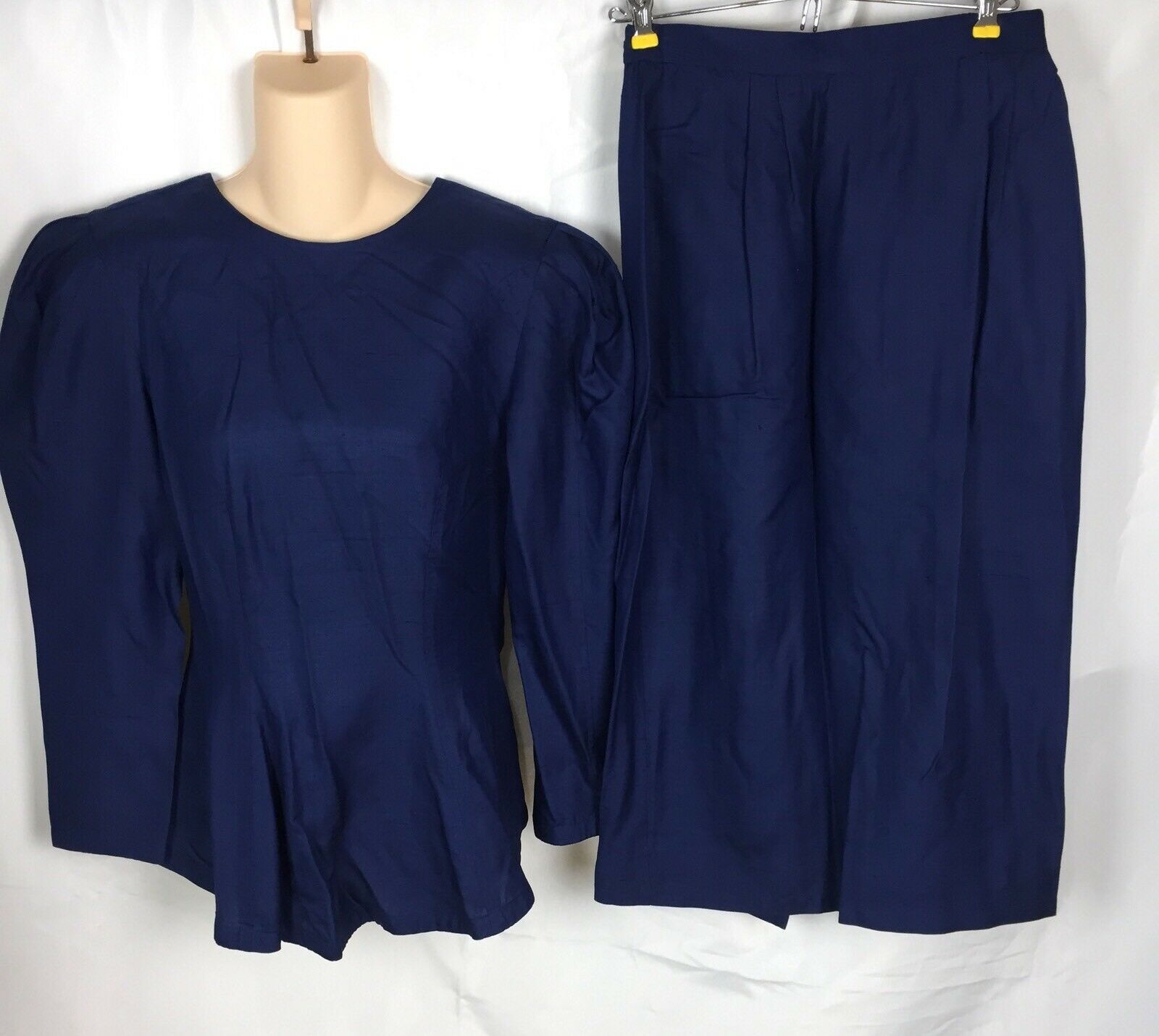 Vtg 80s Joanie Char 100% Silk Navy bluee Puffy Sleeves Skirt Dress Bow Women's 6