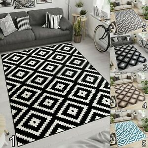 Moroccan Trellis Rugs Grey Black White