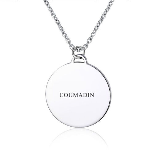 Custom Engraving Medical Alert Pendant Coin Women Necklace Round Chain Jewelry